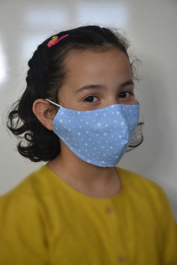 Yıldızlı Mavi  Çocuk Maskesi