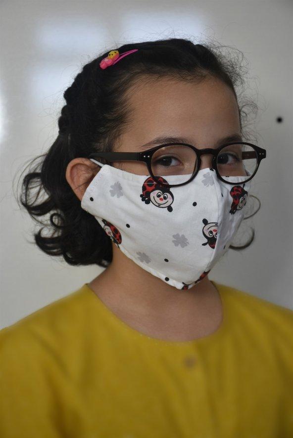 Uğur Böcekli Çocuk Maskesi