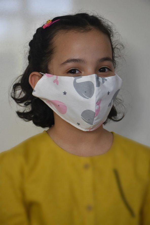 Balina Baskılı Kız Çocuk Maskesi