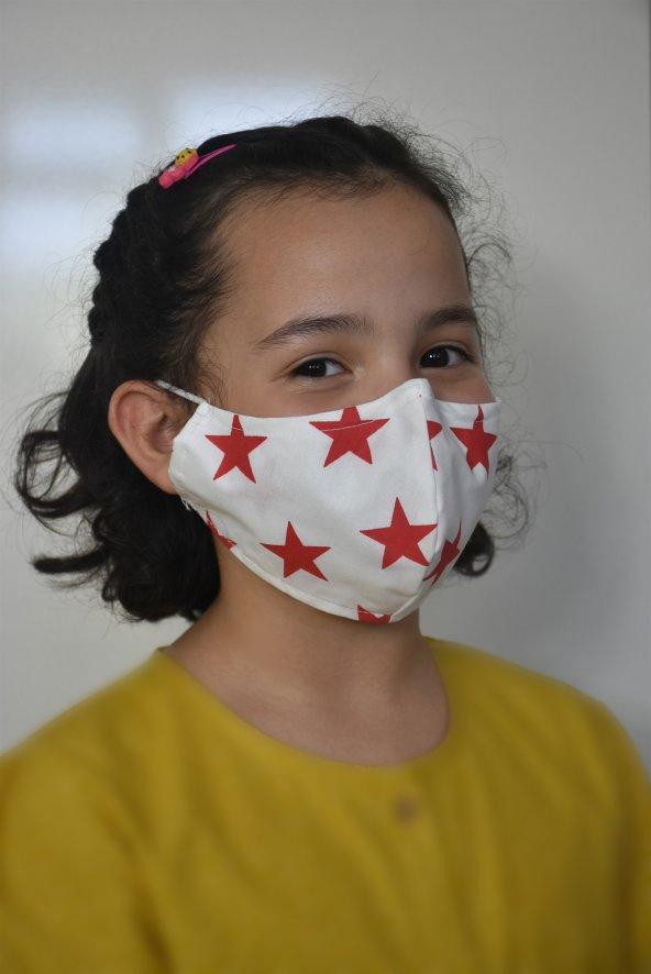 Kırmızı Büyük Yıldızlı Çocuk Maske