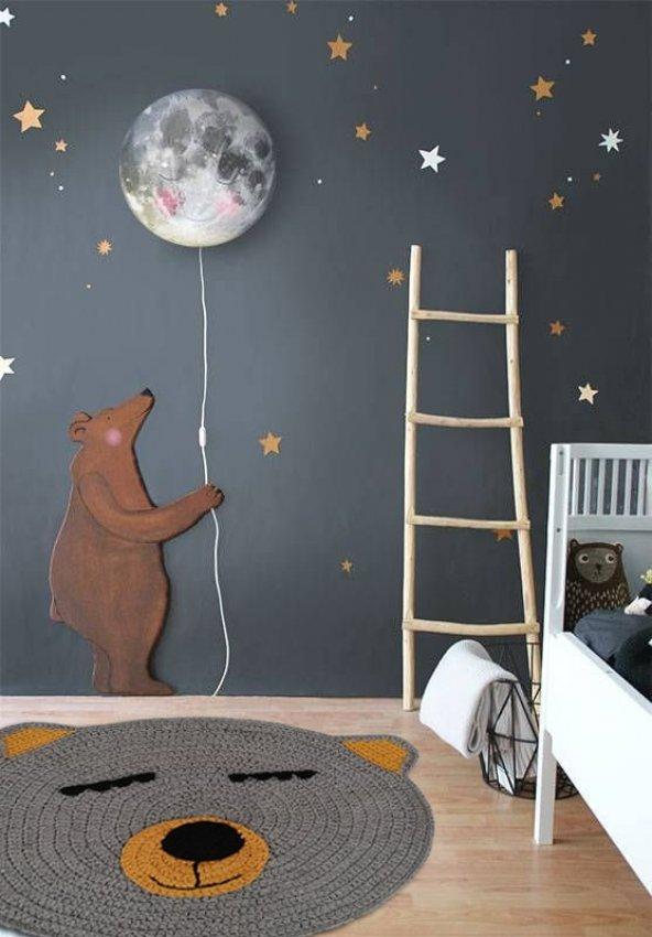 Nuh Home El Yapımı Çocuk Odası Halısı Ayıcık Desenli 3D Halı