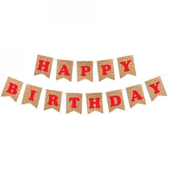 Happy Birthday Kraft Zemin Kırmızı Harf Afiş