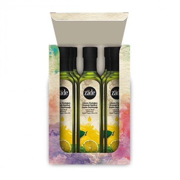 ZADE Limon - Fesleğen Aromalı Naturel Sızma Zeytinyağı Koli 12li Set - 12x250ml Cam Şişe
