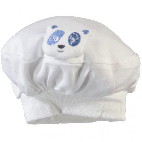 Minidamla 41556 Oyuncaklı Bebek Beresi Beyaz Yenidoğan