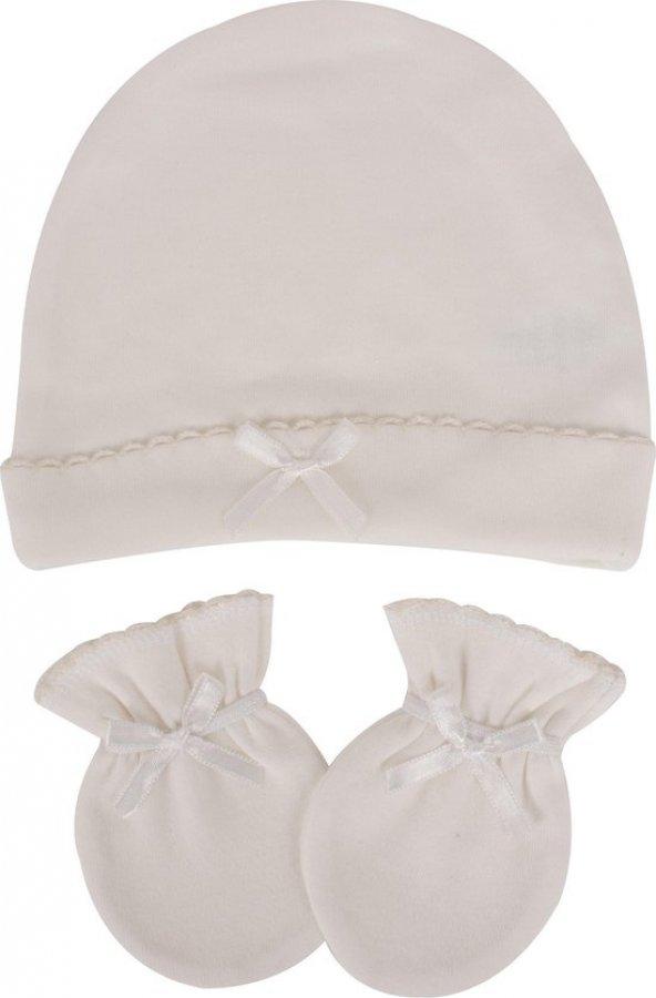 Sevi Bebe 99 Şapka Eldiven Takımı - Ekru