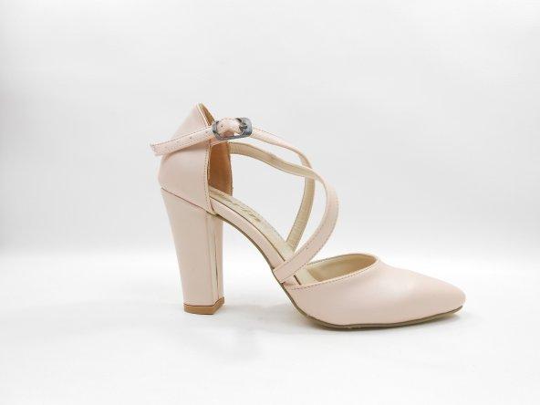 Pudra Kadın Topuklu Ayakkabı 2307