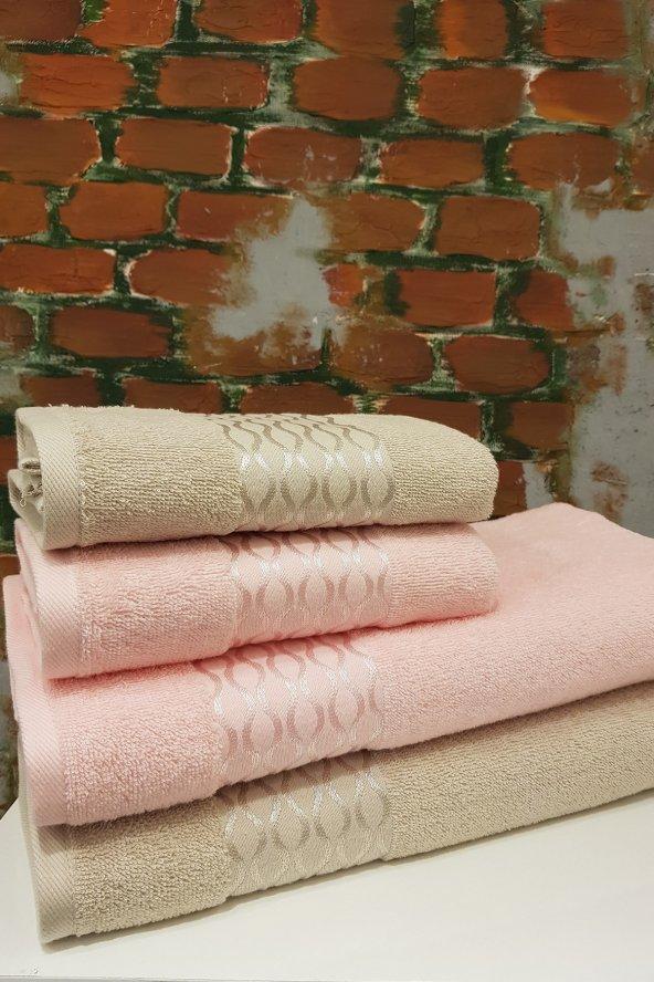 Özdilek Elissa Best Set Hamam Seti Banyo Havlu Takımı Taş - Pudra