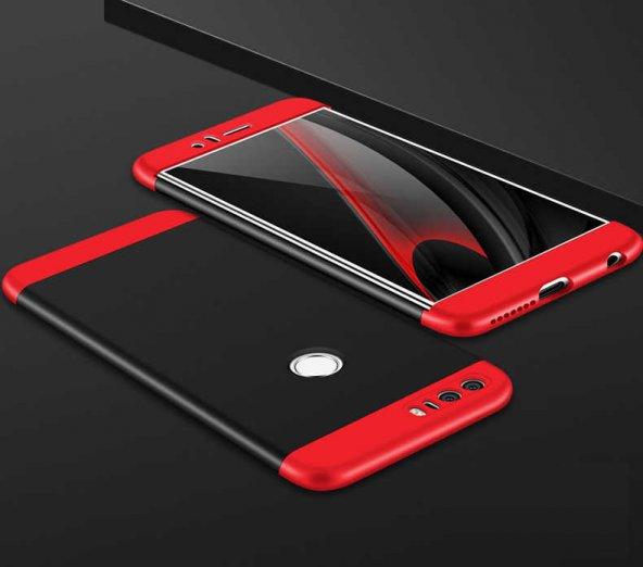 Huawei P9 Lite 2017 Kılıf Ays Kapak Siyah-Kırmızı Renk